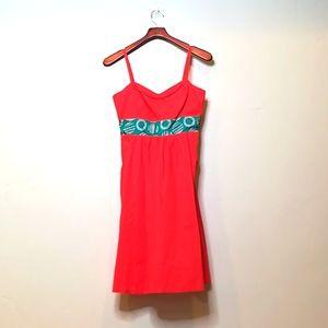 Anthropologie orange and teal dress